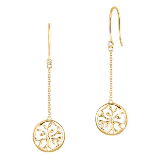 Drop Tree of Life earrings in golden silver by Elsa Lee Paris