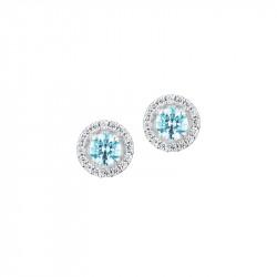Boucles d'oreilles puces Aigue-Marine an argent de la collection tradition par Elsa Lee Paris