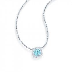 Collier en argent et son pendentif carré aigue-marine orné d'oxydes de zirconium sertis. Collection Tradition, des bijoux intemp