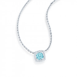 Silver necklace with its aquamarine square pendant rimed with cubics zirconia sets.