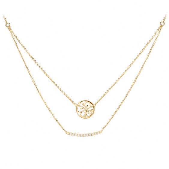 Collier double chaine médaillon Arbre de Vie plaqué or jaune, argent 925