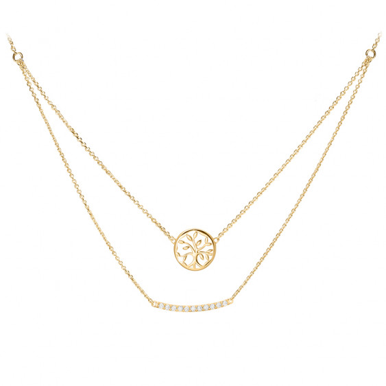 Golden Tree of Life double chain Necklace in silver by Elsa Lee Paris