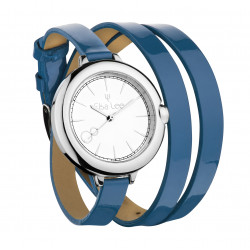 Elsa Lee Paris watch, silver case and double blue leather strap