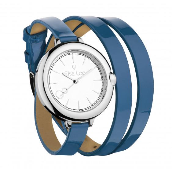 Montre Elsa Lee paris avec cadran argent et bracelet double cuir bleu