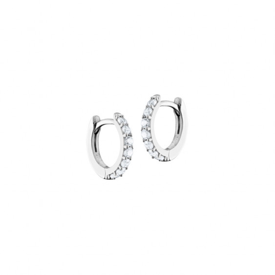 Elsa Lee Paris sterling silver earrings, hoop earrings covered by diamond cut clear Cubic Zirconia