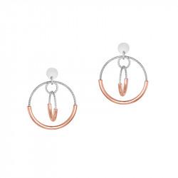 Boucles d'oreilles pendantes cercles en argent martelé et dorure rose gold par Elsa Lee Paris