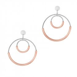 Boucles d'oreilles cercles en argent martelé et dorure rose gold par Elsa Lee Paris