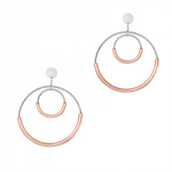 Hammered silver earrings with its 2 circle half gilded in Rose Gold by Elsa Lee Paris