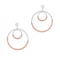 Boucles d'oreilles pendantes doubles cercles en argent martelé et rose gold par Elsa Lee Paris