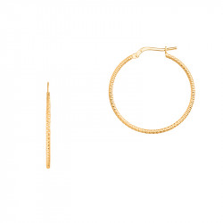 Hammered golden hoop Earrings in 925 silver by Elsa Lee Paris