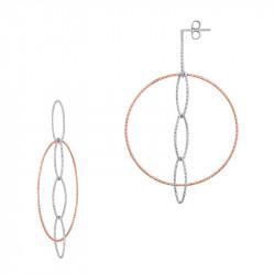 Boucles d'oreilles pendantes et créoles bicolores volumineuses | Argent et rose gold