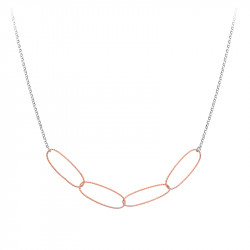 Silver necklace with rose gold silver link with hammered effect by Elsa Lee Paris