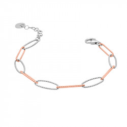 Hammered silver link bracelet in silver and rose gold by Elsa Lee PARIS