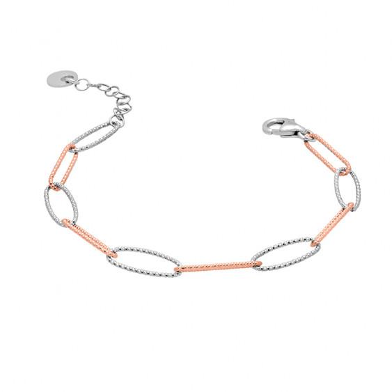 Hammered silver link bracelet in silver and rose gold by Elsa Lee PARIS
