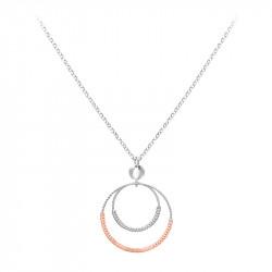 Collier pendentif double cercle en argent martelé et rose gold par Elsa Lee Paris