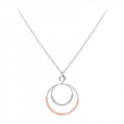 Hammered silver necklace with its circles in rose gold and silver by Elsa Lee Paris