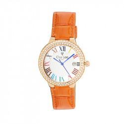 Montre Elsa Lee Paris - 3ATM, cadran chiffre romain 2 tons et boitier couleur rosé serti d'oxydes, bracelet en cuir orange