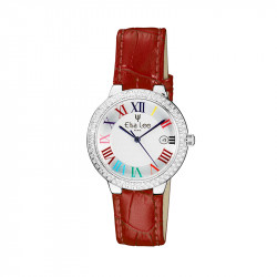 Red leather strap watch romain numerals and silver bezel by Elsa Lee