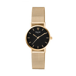 Thin watch in golden metal bracelet and black dial