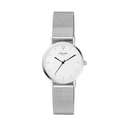 Thin silver watch with its stainless steel milanese mesh bracelet interchangeable