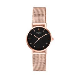 Montre simple et fine en rose gold, bracelet maille milanaise et cadran noir