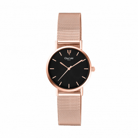 Thin Rose gold watch with black dial and milanese mesh bracelet by Elsa Lee Paris
