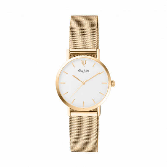 Thin gold metal bracelet watch with white dial and milanese mesh bracelet by Elsa Lee Paris
