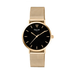 Modern and simple design watch with black dial and golden milanese mesh bracelet by Elsa Lee Paris