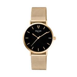 Montre contemporaine simple au bracelet doré en maille milanaise et cadran noir