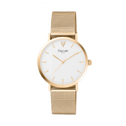 Clean and refine design watch with its simple white dial without numeral and its golden bracelet in milanese mesh