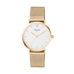 Montre design épurée cadran blanc et bracelet acier dorée. Sans chiffre sur le cadran