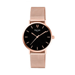Montre simple cadran rond noir et bracelet rose gold par Elsa Lee Paris