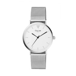Simple and minimalist watch with its silver milanese mesh bracelet and white dial by Elsa Lee Paris