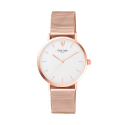 White dial and Rose gold bracelet watch with a simple and minimaliste design, dial without numbers