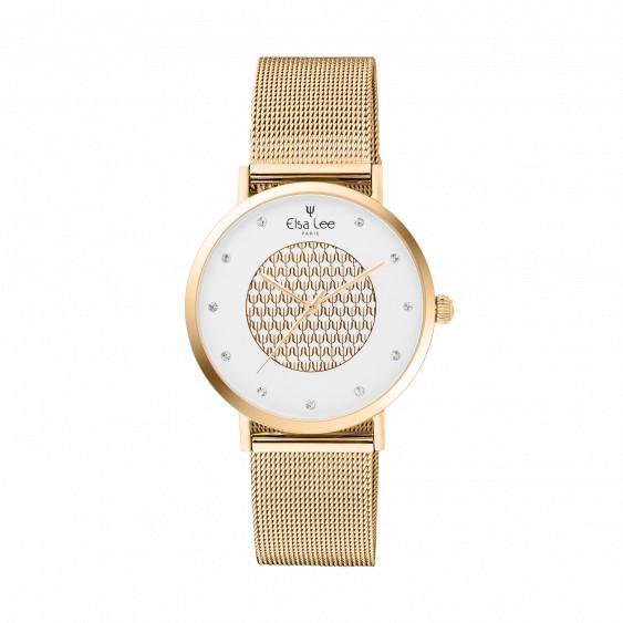 Montre dorée cadran blanc et dorée bracelet dorée maille milanaise interchangeable. Bracelet cuir offert