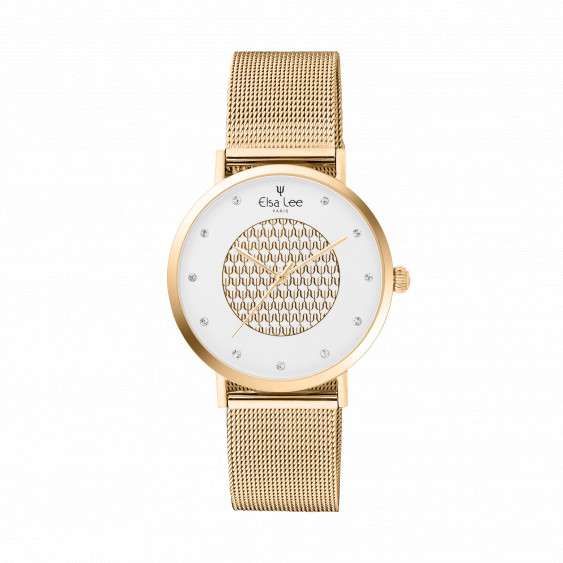 Gold coloured watch with its milanese mesh bracelet and white dial. Comes with a free leather bracelet for you to change
