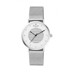White dial and contemporary designed watch with its Milanese mesh bracelet in silver