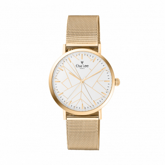 Watch with white dial adorned with geometrical design with a Milanese mesh bracelet in golden and a free leather bracelet
