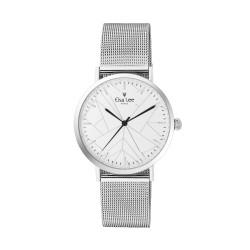 Montre cadran blanc design géométrique épuré et bracelet en maille milanaise. Bracelet cuir interchangeable offert