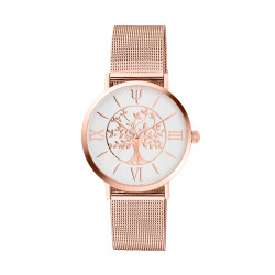 Tree of Life watch in Rose gold and white dial. Bracelet in rose gold milanese mesh, comes with a free leather bracelet