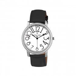 Montre bracelet gris foncé pailleté avec son design contemporain par Elsa Lee Paris - Bracelet cuir gris métallique