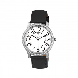 Dark Grey watch silver bezel and white dial with big numerals by Elsa Lee Paris