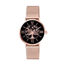 Montre arbre de vie rose gold avec bracelet interchangeable en maille milanaise. Bracelet cuir offert