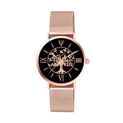 Rose gold tree of life watch with black dial and milanese mesh interchangeable bracelet. Comes with a free leather bracelet