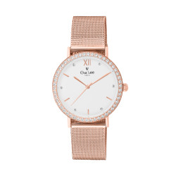 White dial watch with sparkling circle on dial and rose gold bracelet in Milanese Watch. Interchangeable leather bracelet free.