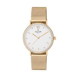 Montre cadran blanc et contour brillant bracelet dorée en maille milanaise. Bracelet cuir interchangeable offert