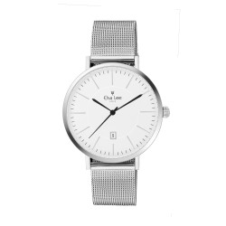 Silver watch with clean style white dial featuring a date function, silver milanese mesh interchangeable bracelet
