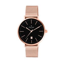 Montre épuré cadran noir fonction date et bracelet interchangeable Rose gold en maille milanaise. Bracelet cuir offert