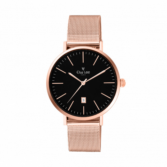 Clean style watch in rose gold and black dial featuring date function. Rose gold milanese mesh bracelet interchangeable with a f