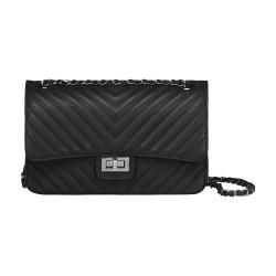 Black quilted leather handbag by Elsa Lee Paris